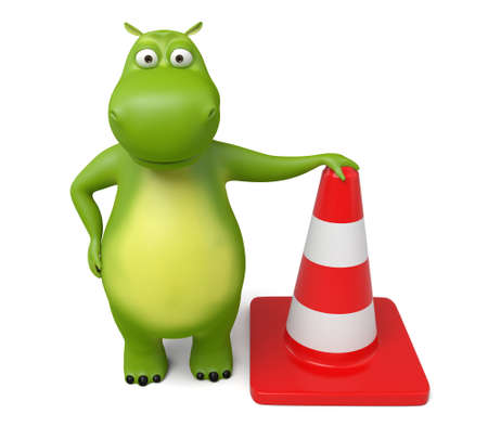 roadwork: 3d cartoon animal with a barricade. Isolated on a white background