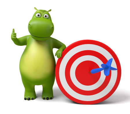 targeted: 3d cartoon animal with a target. 3d image. Isolated white background