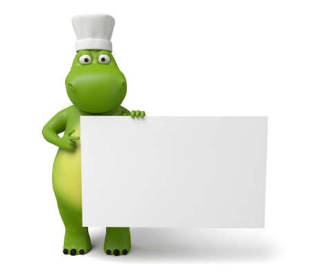 learning to cook: 3d cartoon animal with a old paper. 3d image. Isolated white background