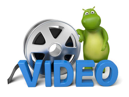 monster movie: 3d cartoon animal with a film reel. 3d image. Isolated white background.