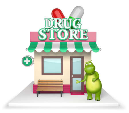 drug store: 3d cartoon animal with a drug store.
