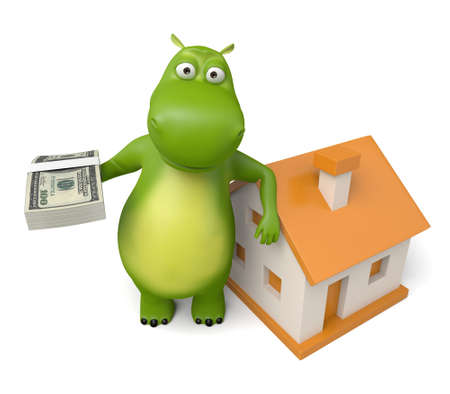 renter: 3d cartoon animal with a new house. Stock Photo