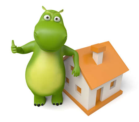 renter: 3d cartoon animal with a new house. 3d image. Isolated white background. Stock Photo