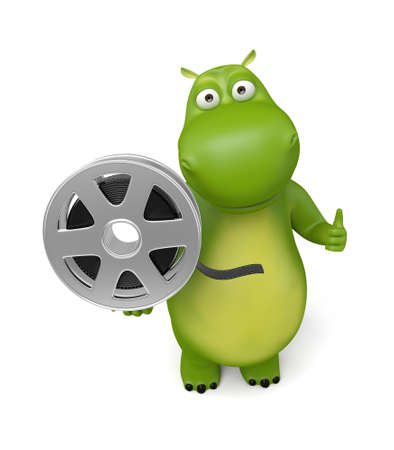 3d cartoon animal with a film reel. 3d image. Isolated white background.