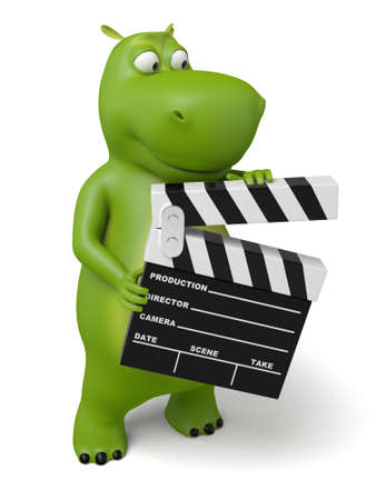 3d cartoon animal with a movie clapper. 3d image. Isolated white background.