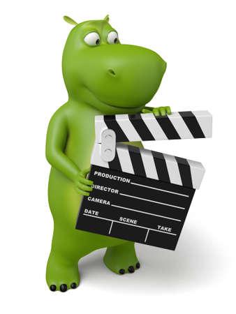 animaux zoo: Animal de bande dessinée 3d avec un clapet de film. 3d image. Fond blanc isolé.