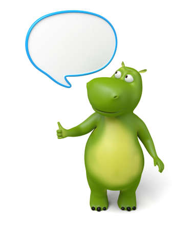 dialog: 3d cartoon animal with speech bubbles. 3d image. Isolated white background.