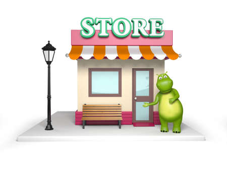 building trade: 3d cartoon animal with a store. 3d image. Isolated white background.