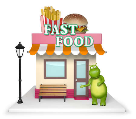 hamburgers: 3d cartoon animal with a fast food store. 3d image. Isolated white background.
