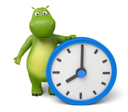 3d cartoon animal with a clock