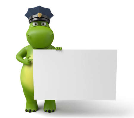 patrolman: 3d cartoon animal with a blank signboard