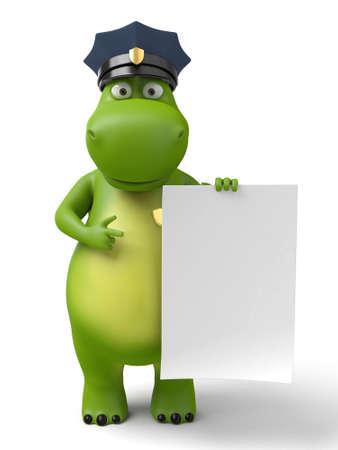 3d cartoon animal with a blank signboard
