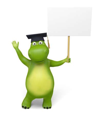 signboard: 3d cartoon animal with an empty signboard Stock Photo