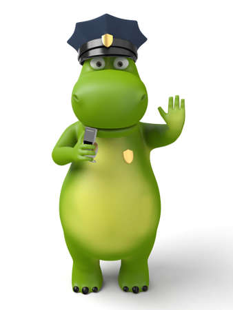 patrolman: 3d cartoon animal with a blank signboard