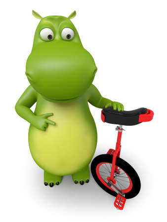 unicycle: 3d cartoon animal with a unicycle Stock Photo