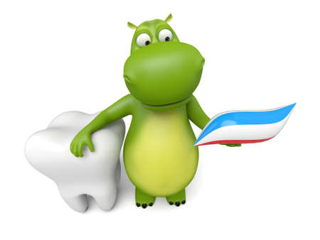 3d cartoon animal with a big tooth 免版税图像