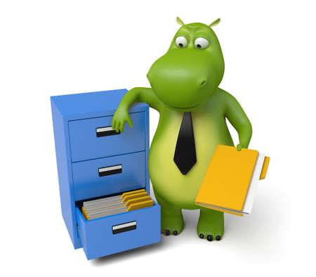 3d cartoon animal with some folders Reklamní fotografie