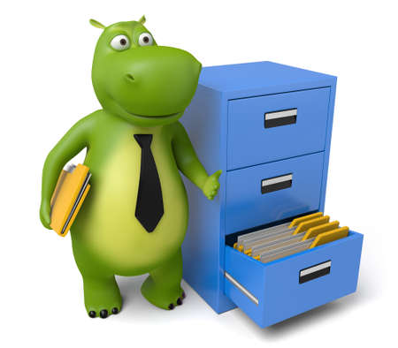 3d cartoon animal with some folders Stock Photo