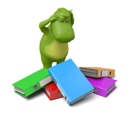 ring binders: 3d cartoon animal with some ring binders. 3d image. Isolated white background