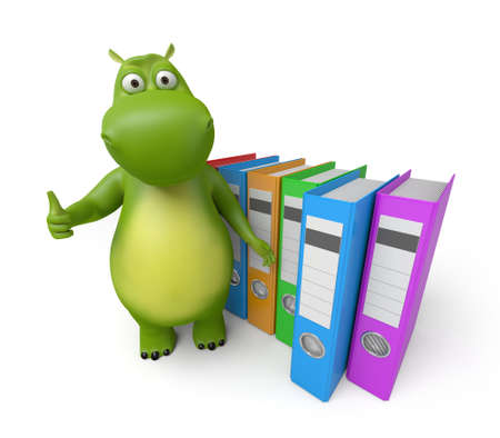 document: 3d cartoon animal with some ring binders. 3d image. Isolated white background