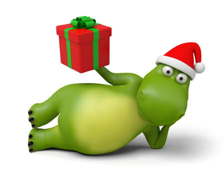 father christmas: 3d cartoon animal with a empty board. 3d image. Isolated white background