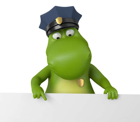 zoo traffic: 3d cartoon animal with a blank signboard. Police information.