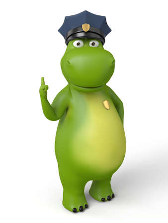 patrolman: 3d cartoon animal with a blank signboard. Police information.