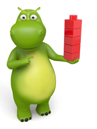 3d cartoon animal play with some bricks. Police information.
