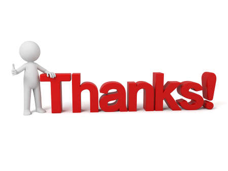 3d people sitting on a text of thanks. 3d image. Isolated white background. Standard-Bild