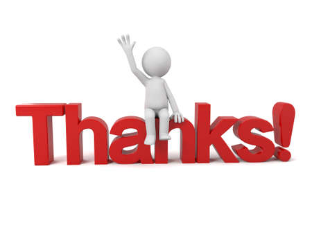 3d people sitting on a text of thanks. 3d image. Isolated white background. Stockfoto