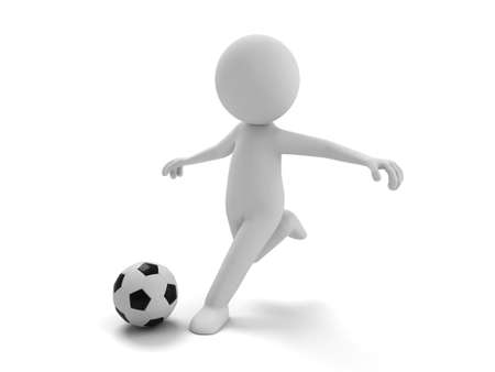 little man: 3d people playing football, 3d image. Isolated white background.