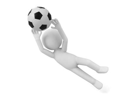 3d ball: 3d people playing football, 3d image. Isolated white background.