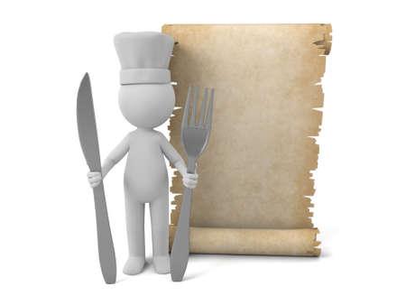 cocina caricatura: Gente 3d con un papel viejo. Imagen en 3D. Fondo blanco aislado