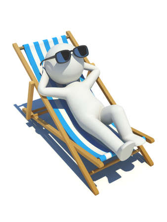 3d people lying on a beach. 3d image. Isolated white background.