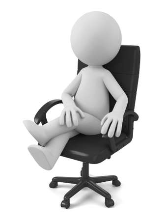 communication cartoon: 3d people sitting in chair thinking. 3d image. Isolated white background