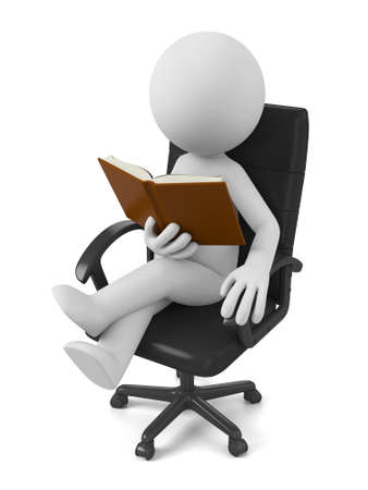 small people: 3d people reading the book sitting in chair. 3d image. Isolated white background Stock Photo