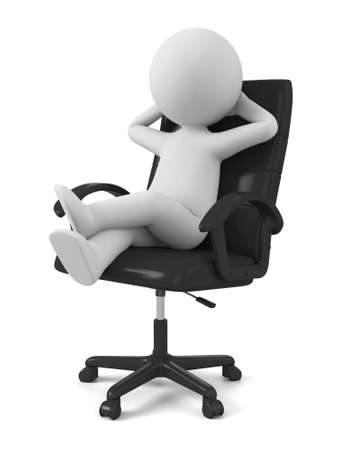 3d people sitting on chair thinking.