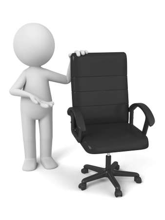 vago: 3d people standing by a vacant chair.  Imagens