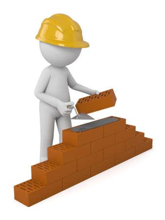 brick building: 3d people building a brick wall.