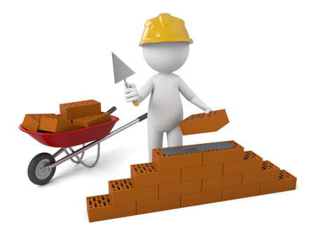 bricklayer: 3d people building a brick wall.