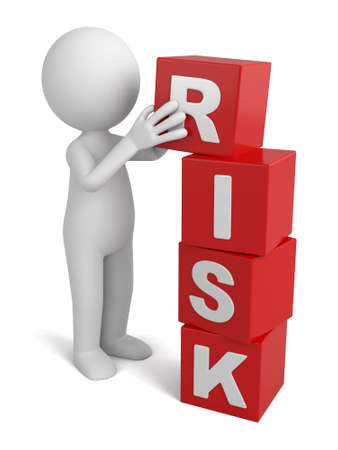 risks: 3d people with some cubes, the word of risk. Stock Photo