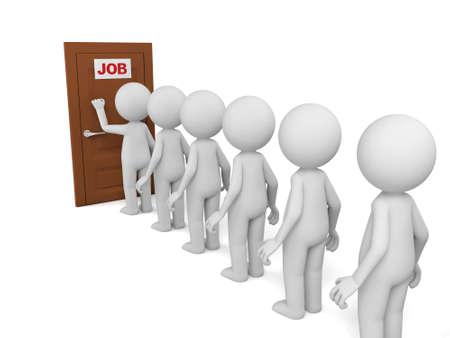 entrevista: 3d personas en espera de la entrevista de trabajo. Foto de archivo
