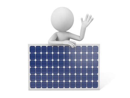 solar cells: 3d white people with a solar panel.