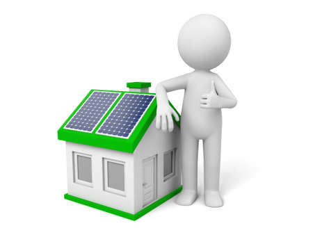 3d white people. House with solar panel.  Stock fotó
