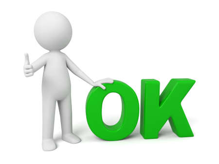 confirm: 3d people with the word of OK.  Stock Photo