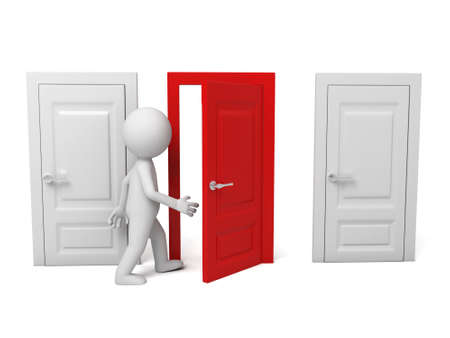opportunity: 3d people walking into a different door.  Stock Photo