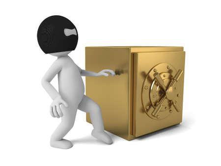 tried: 3d thief tried to steal the safe box.  Stock Photo