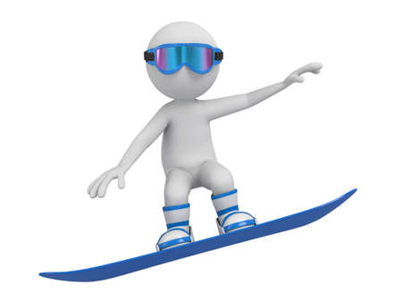 boarder: 3d people on a snowboard.