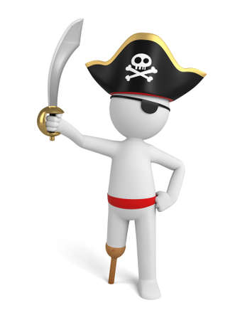 A 3d pirate with a sword.