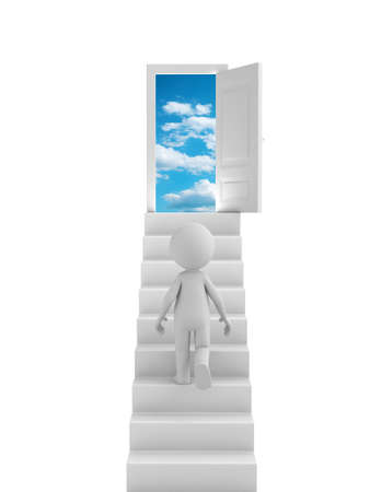 heaven: 3d people with stairs and a door.  Stock Photo
